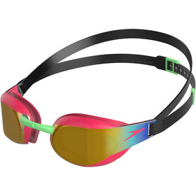 speedo Fastskin Elite Mirror Goggles Kinderen, black/psycho red/gold